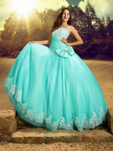 Sleeveless Tulle Floor Length Lace Up Sweet 16 Dresses in Apple Green with Beading and Lace and Bowknot