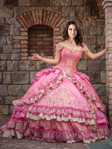 High End Ruffled Floor Length Rose Pink Vestidos de Quinceanera Off The Shoulder Sleeveless Lace Up