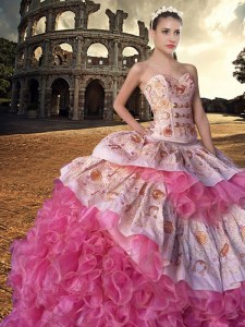 Noble With Train Ball Gowns Sleeveless Pink And White 15th Birthday Dress Court Train Lace Up