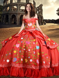 New Arrival Ball Gowns Quinceanera Gown Red Off The Shoulder Taffeta Sleeveless Floor Length Lace Up