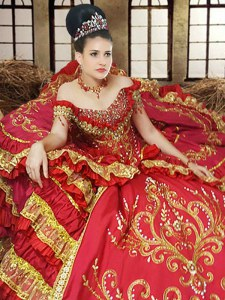 Dazzling Off the Shoulder Ruffled Floor Length Ball Gowns Sleeveless Red Quinceanera Gown Lace Up