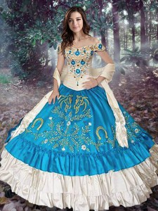 Wonderful Off the Shoulder Teal Sweet 16 Dress Taffeta Cap Sleeves Embroidery and Ruffled Layers