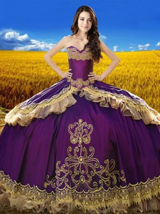Purple 15 Quinceanera Dress Military Ball and Sweet 16 and Quinceanera and For with Beading and Embroidery Sweetheart Sleeveless Lace Up