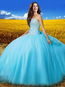 Cute Floor Length Aqua Blue Sweet 16 Quinceanera Dress Strapless Sleeveless Lace Up