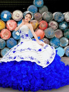 Stunning White and Blue Lace Up Quinceanera Dress Embroidery and Ruffles Sleeveless With Brush Train