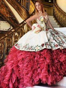 Elegant White and Red Lace Up 15 Quinceanera Dress Embroidery and Ruffles Sleeveless With Brush Train