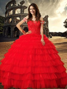 Pretty Off the Shoulder Red Ball Gowns Beading and Ruffled Layers 15 Quinceanera Dress Lace Up Tulle Sleeveless With Train