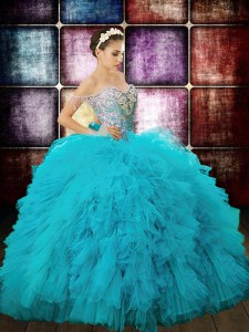 Sexy Aqua Blue Ball Gowns Tulle Off The Shoulder Sleeveless Beading and Ruffles and Sequins Floor Length Zipper Sweet 16 Dresses