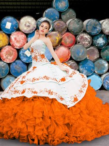 Cute Multi-color Ball Gowns Appliques and Embroidery and Ruffles Sweet 16 Dresses Lace Up Organza Sleeveless Floor Length
