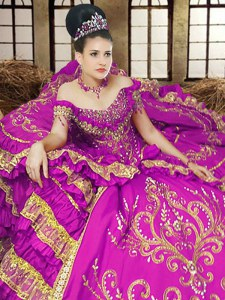 Glittering Off the Shoulder Purple Sleeveless Embroidery Floor Length Quinceanera Gowns