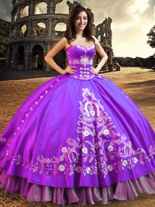 Super Sleeveless Floor Length Embroidery Lace Up Vestidos de Quinceanera with Purple