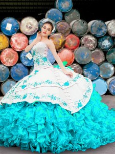 Best Blue And White Organza Lace Up Quinceanera Dresses Sleeveless Floor Length Appliques and Embroidery and Ruffles