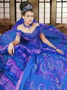 Off the Shoulder Royal Blue Ball Gowns Embroidery Quinceanera Dress Lace Up Satin Sleeveless Floor Length