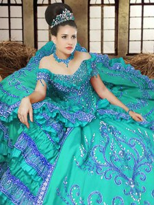 Off the Shoulder Floor Length Turquoise Quinceanera Dress Satin Sleeveless Embroidery