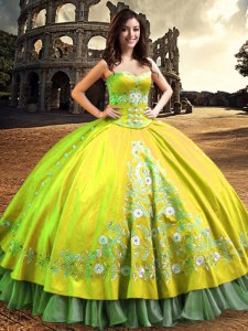 Yellow Green Quince Ball Gowns Military Ball and Sweet 16 and Quinceanera and For with Lace and Embroidery One Shoulder Sleeveless Lace Up