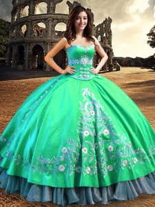 Turquoise Off The Shoulder Neckline Lace and Embroidery 15th Birthday Dress Sleeveless Lace Up