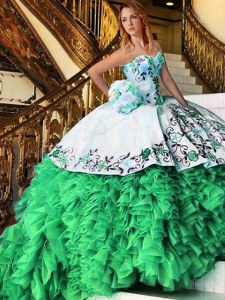 Custom Made Sleeveless Organza Lace Up 15 Quinceanera Dress for Military Ball and Sweet 16 and Quinceanera