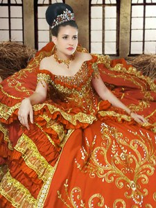 Exceptional Floor Length Orange Quinceanera Gowns Off The Shoulder Sleeveless Lace Up