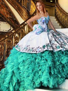 Traditional Multi-color Sweetheart Neckline Appliques and Embroidery 15th Birthday Dress Sleeveless Lace Up
