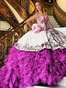Customized Appliques and Embroidery Quince Ball Gowns Pink And White Lace Up Sleeveless Floor Length