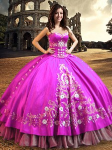 Sleeveless Lace Up Floor Length Embroidery Quinceanera Dress