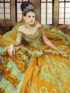 Ideal Off the Shoulder Gold Lace Up 15 Quinceanera Dress Embroidery Sleeveless Floor Length