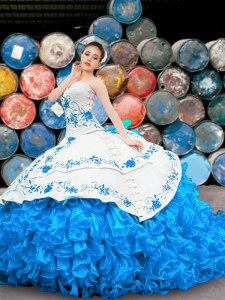 Halter Top Blue And White Lace Up 15 Quinceanera Dress Appliques and Embroidery and Ruffles Sleeveless Floor Length