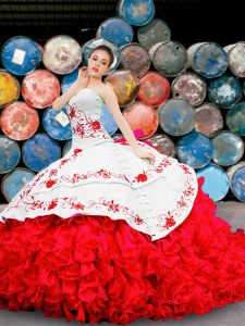 Glorious Sweetheart Sleeveless Quinceanera Dresses Floor Length Appliques and Embroidery and Ruffles White And Red Organza