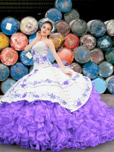 Fancy White And Purple Sleeveless Organza Lace Up Vestidos de Quinceanera for Military Ball and Sweet 16 and Quinceanera