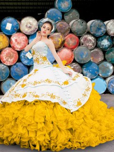 Sleeveless Floor Length Appliques and Embroidery and Ruffles Lace Up Quinceanera Dress with Yellow And White