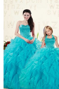 Dynamic Aqua Blue Organza Lace Up Ball Gown Prom Dress Sleeveless Floor Length Beading and Ruffles