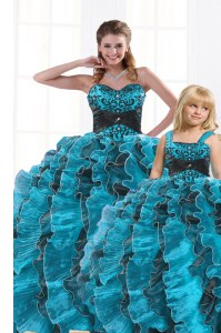 Aqua Blue Sleeveless Beading and Appliques and Ruffles Floor Length Quince Ball Gowns