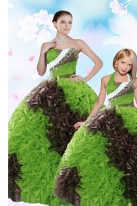Green Sleeveless Floor Length Beading and Sequins Lace Up Vestidos de Quinceanera