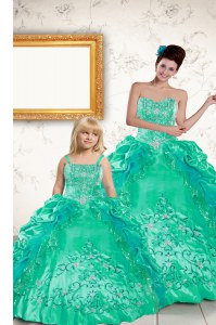 Suitable Sleeveless Beading and Embroidery and Pick Ups Lace Up Ball Gown Prom Dress