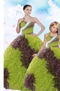 Sleeveless Fabric With Rolling Flowers Floor Length Lace Up 15th Birthday Dress in Multi-color with Beading and Sequins