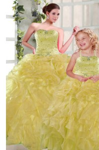 Yellow Ball Gowns Organza Strapless Sleeveless Beading and Ruffles Floor Length Lace Up Quince Ball Gowns