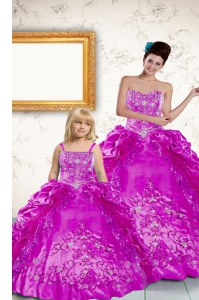 Romantic Pick Ups Floor Length Purple Quinceanera Dresses Strapless Sleeveless Lace Up