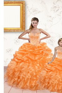 Pick Ups Orange Sleeveless Organza Lace Up Quince Ball Gowns for Military Ball and Sweet 16 and Quinceanera