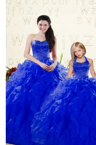 Royal Blue Sweetheart Lace Up Beading and Ruffles Sweet 16 Dress Sleeveless