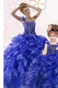 Elegant One Shoulder Floor Length Lace Up Quinceanera Dress Royal Blue for Military Ball and Sweet 16 and Quinceanera with Beading and Ruffles