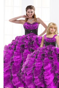 Custom Made Sweetheart Sleeveless Organza Quinceanera Dresses Beading and Appliques and Ruffles Lace Up