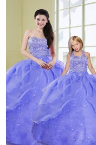 Excellent Lavender Sleeveless Organza Lace Up Sweet 16 Dress for Military Ball and Sweet 16 and Quinceanera