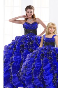 Modern Sleeveless Floor Length Beading and Appliques and Ruffles Lace Up Quinceanera Dress with Royal Blue