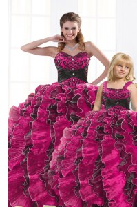 Sweetheart Sleeveless Organza Quince Ball Gowns Beading and Appliques and Ruffles Lace Up