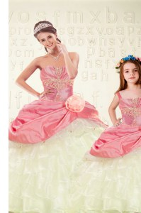 Beauteous Pink Sweetheart Neckline Beading and Ruffled Layers and Hand Made Flower Quinceanera Gowns Sleeveless Lace Up