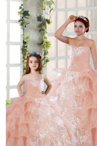 Organza Sleeveless Floor Length Quinceanera Dresses and Beading and Ruffled Layers and Ruching