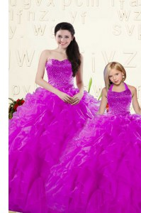 Trendy Purple Organza Lace Up Ball Gown Prom Dress Sleeveless Floor Length Beading and Ruffles