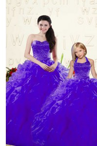 Glittering Beading and Ruffles Vestidos de Quinceanera Purple Lace Up Sleeveless Floor Length