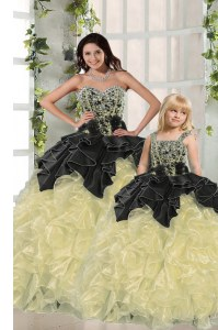 Chic Light Yellow Sleeveless Organza Lace Up 15 Quinceanera Dress for Military Ball and Sweet 16 and Quinceanera