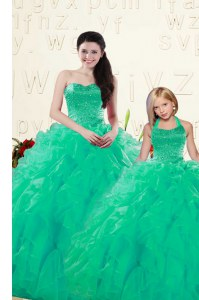 Turquoise Ball Gowns Beading and Ruffles Sweet 16 Dresses Lace Up Organza Sleeveless Floor Length